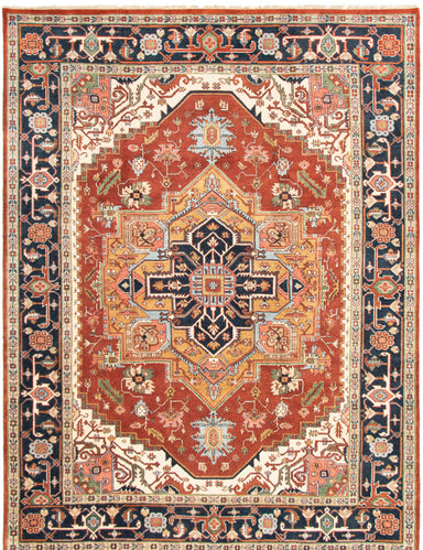 Hand-knotted Area rug Bordered, Geometric, Traditional Brown