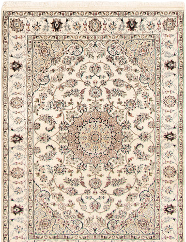 Hand-knotted Area rug Bordered, Floral, Persian, Traditional Ivory