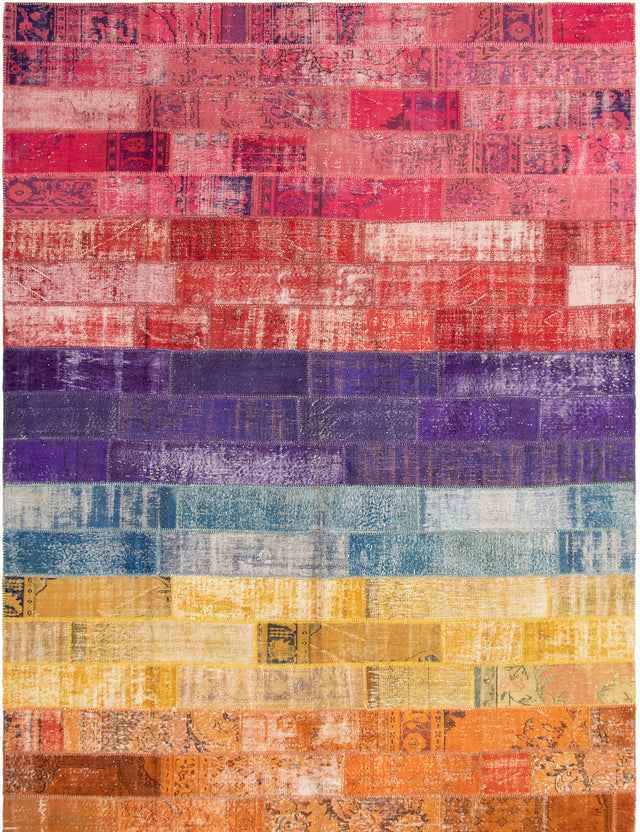 Hand-knotted Area rug Casual, Overdyed, Transitional Orange, Pink