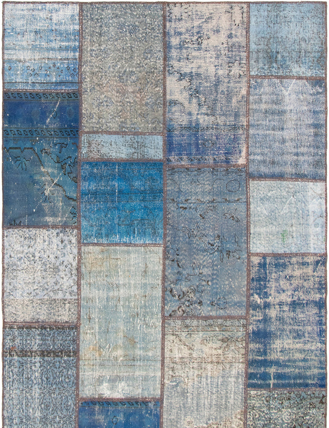 Hand-knotted Area rug Casual, Overdyed, Transitional Blue