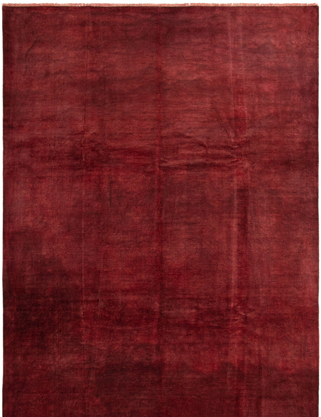 Hand-knotted Area rug Casual, Overdyed, Transitional Red