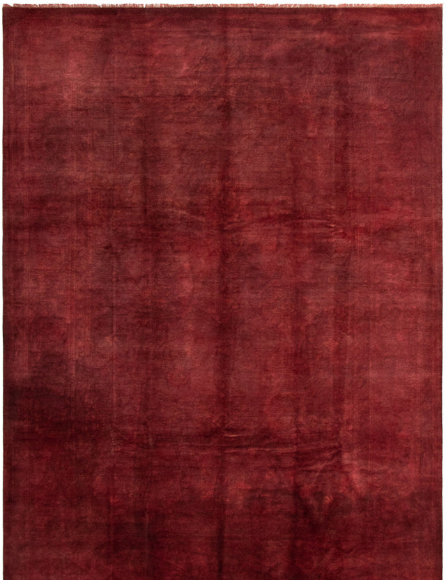 Hand-knotted Area rug Overdyed, Transitional Red
