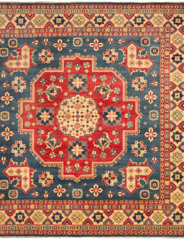 Hand-knotted Area rug Bordered, Geometric, Traditional Blue