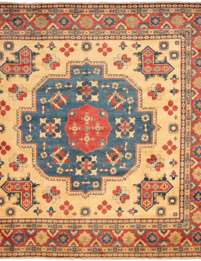 Hand-knotted Area rug Bordered, Geometric, Traditional Ivory