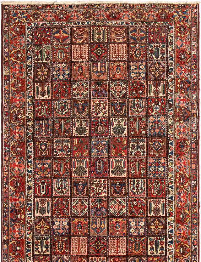 Hand-knotted Area rug Bordered, Geometric, Traditional Red