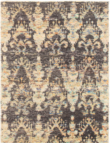 Hand-knotted Area rug Casual, Transitional Yellow