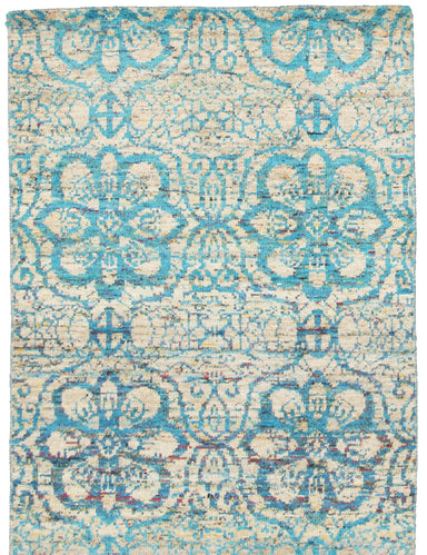 Hand-knotted Area rug Casual, Contemporary Blue