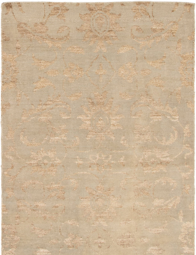 Hand-knotted Area rug Casual, Transitional Green