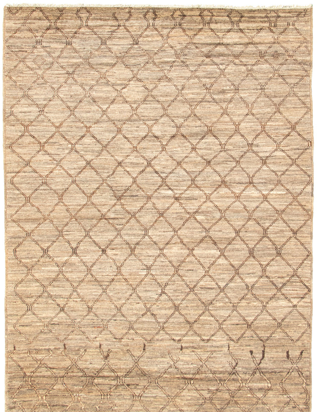 Hand-knotted Area rug Moroccan, Transitional, Tribal Green, Grey