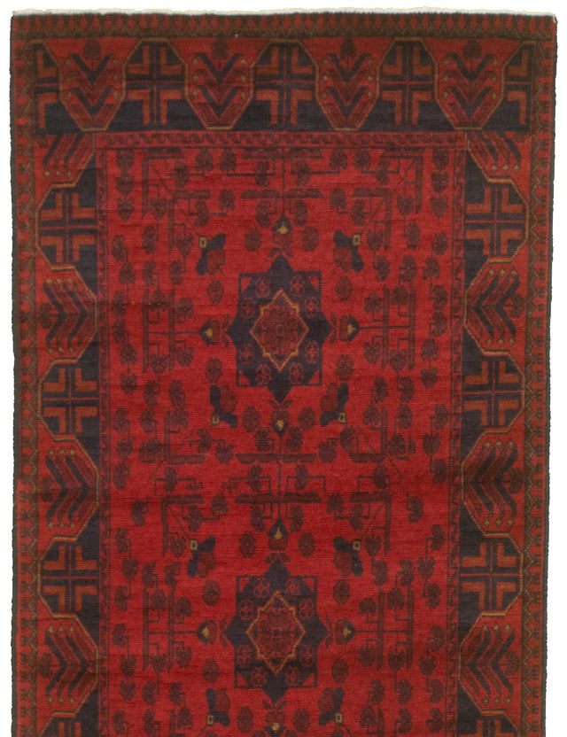 Hand-knotted Area rug Bordered, Geometric, Traditional, Tribal