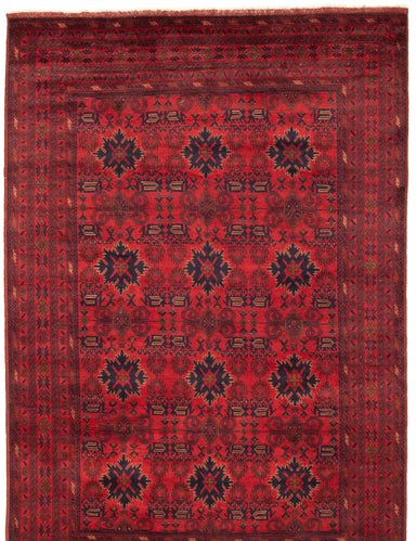 Hand-knotted Area rug Geometric, Traditional, Tribal Red
