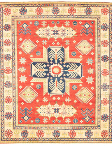 Hand-knotted Area rug Geometric, Traditional Red