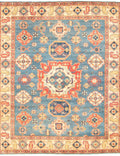Hand-knotted Area rug Geometric, Traditional Blue