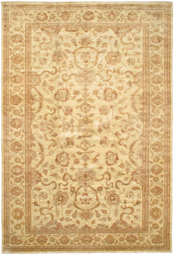 "Hand-knotted Afghan Traditional Chobi-Finest Area rug  Ivory 11'6 x 17'2"" """