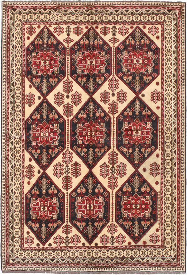 "Hand-knotted Afghan Traditional Uzbek-Kargahi Area rug  Cream 6'5 x 9'7"" """
