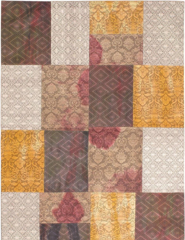 Flat-weave Area rug Bohemian, Transitional Brown, Grey, Multi, Yellow