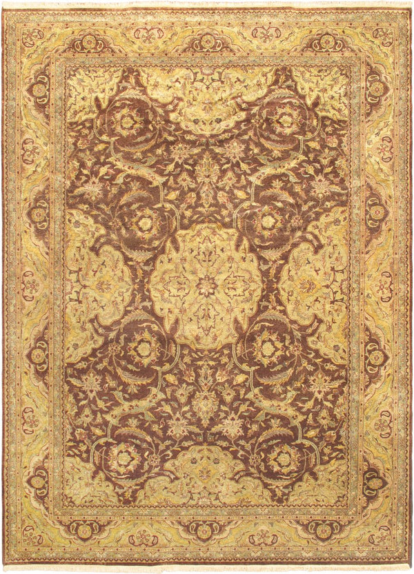 Hand-knotted Indian Traditional Mirzapur Area rug  Dark Brown 10 x 13.1