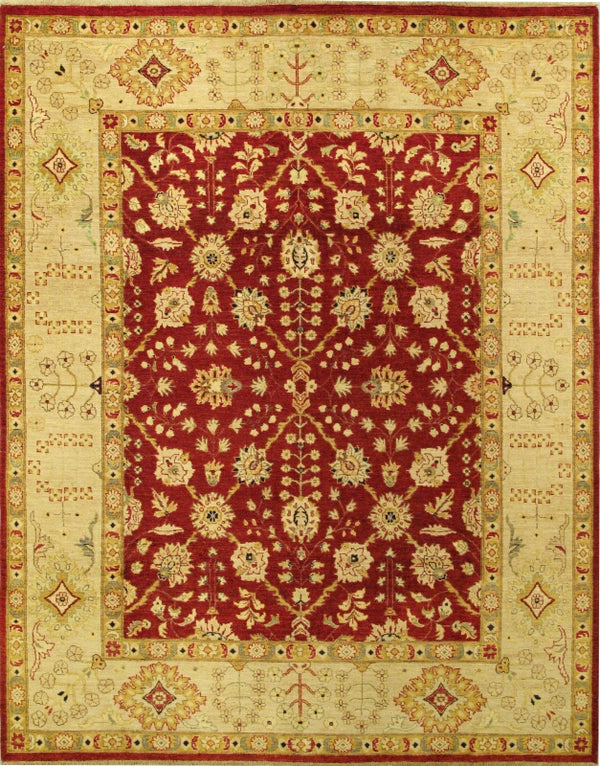 "Hand-knotted Afghan Traditional Chobi-Finest Area rug  Cream, Dark Burgundy 8'0 x 10'3"" """