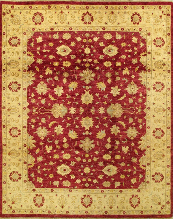 "Hand-knotted Afghan Traditional Chobi-Finest Area rug  Dark Burgundy, Yellow 8'1 x 10'2"" """
