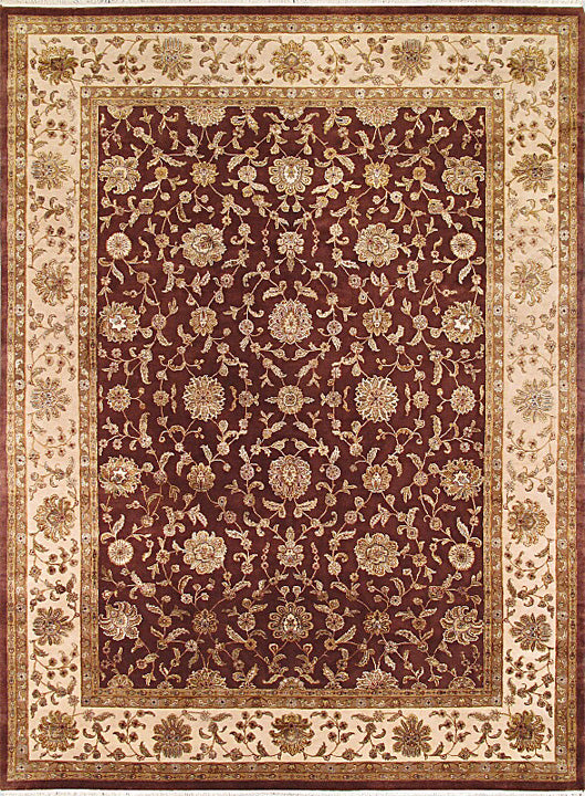 Hand-knotted Indian Traditional Harrir-Select Area rug  Dark Red, Ivory,  9.1 x 12.2