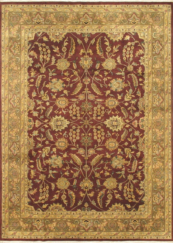 "Hand-knotted Indian Traditional Jamshidpour Area rug  Dark Red, Ivory 8'6 x 11'9"" """