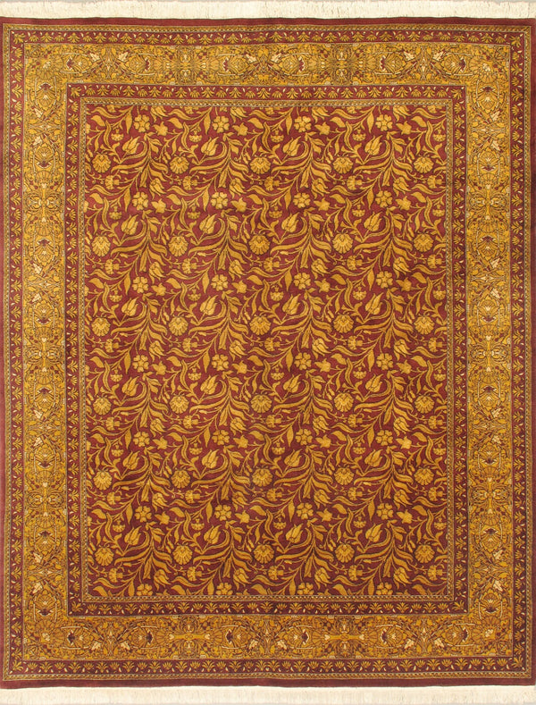 "Hand-knotted Pakistani Traditional Double-Knot Area rug  Dark Gold, Light Burgundy 8'1 x 10'1"" """