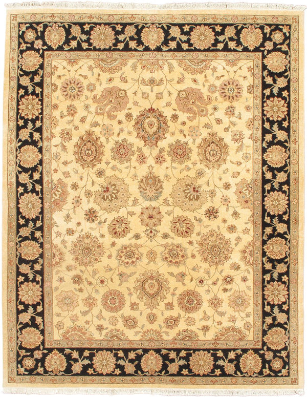 "Hand-knotted Indian Traditional Chobi-Twisted Area rug  Ivory, Pink 8'2 x 10'2"" """