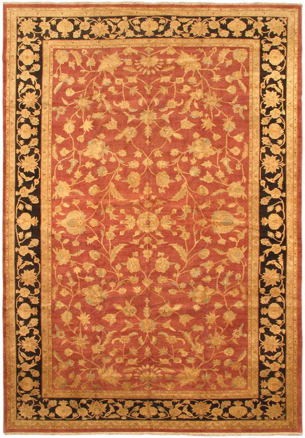 "Hand-knotted Afghan Traditional Chobi-Finest Area rug  Orange 12'5 x 18'0"" """