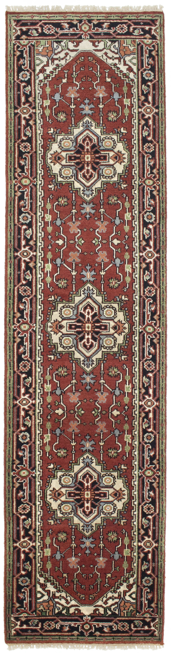 "Hand-knotted Indian Floral  Traditional Serapi-Heritage Runner rug  Dark Orange 2'6 x 10'4"" """
