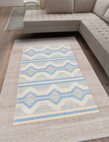 "Flat-weave Turkish Transitional Tribeca-M41685 Area rug  Light Grey, Sky Blue 8'0 x 10'0"" """