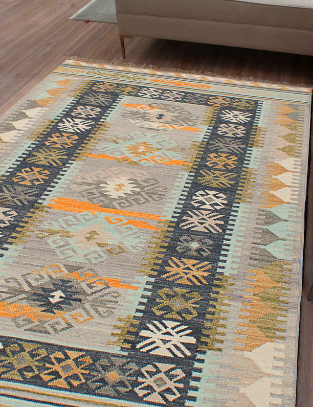 Flat-weave Turkish Bohemian  Traditional Esme-300063 Area rug  Grey, Light Blue  5 x 8