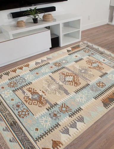 Flat-weave Turkish Bohemian  Traditional Esme-300059 Area rug  Khaki, Light Blue  5 x 8