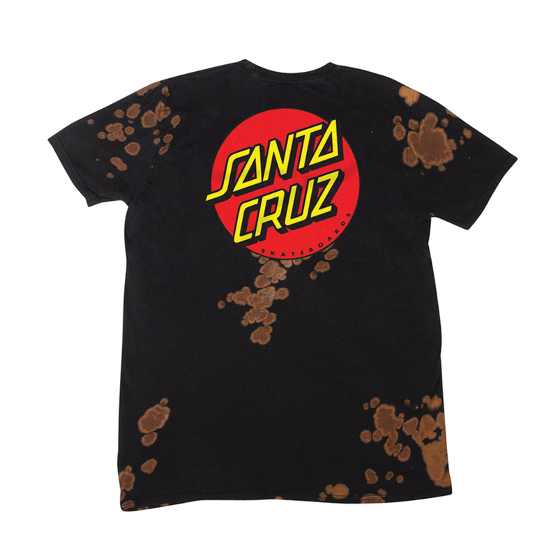 Santa Cruz Classic Dot T-Shirt - Bleach Out Black