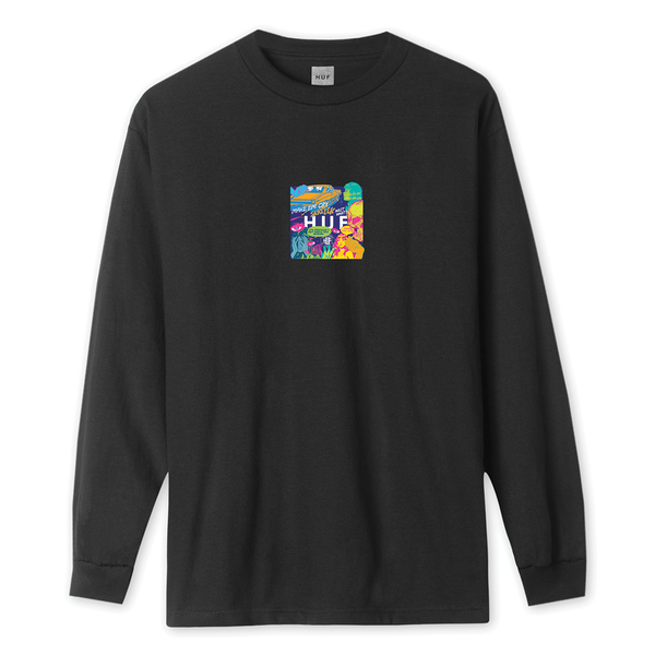 HUF Comic Box Logo L/S Tee - Black