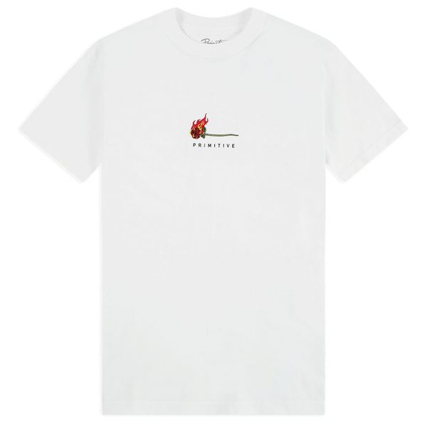 Primitive Burning Rose Tee - White