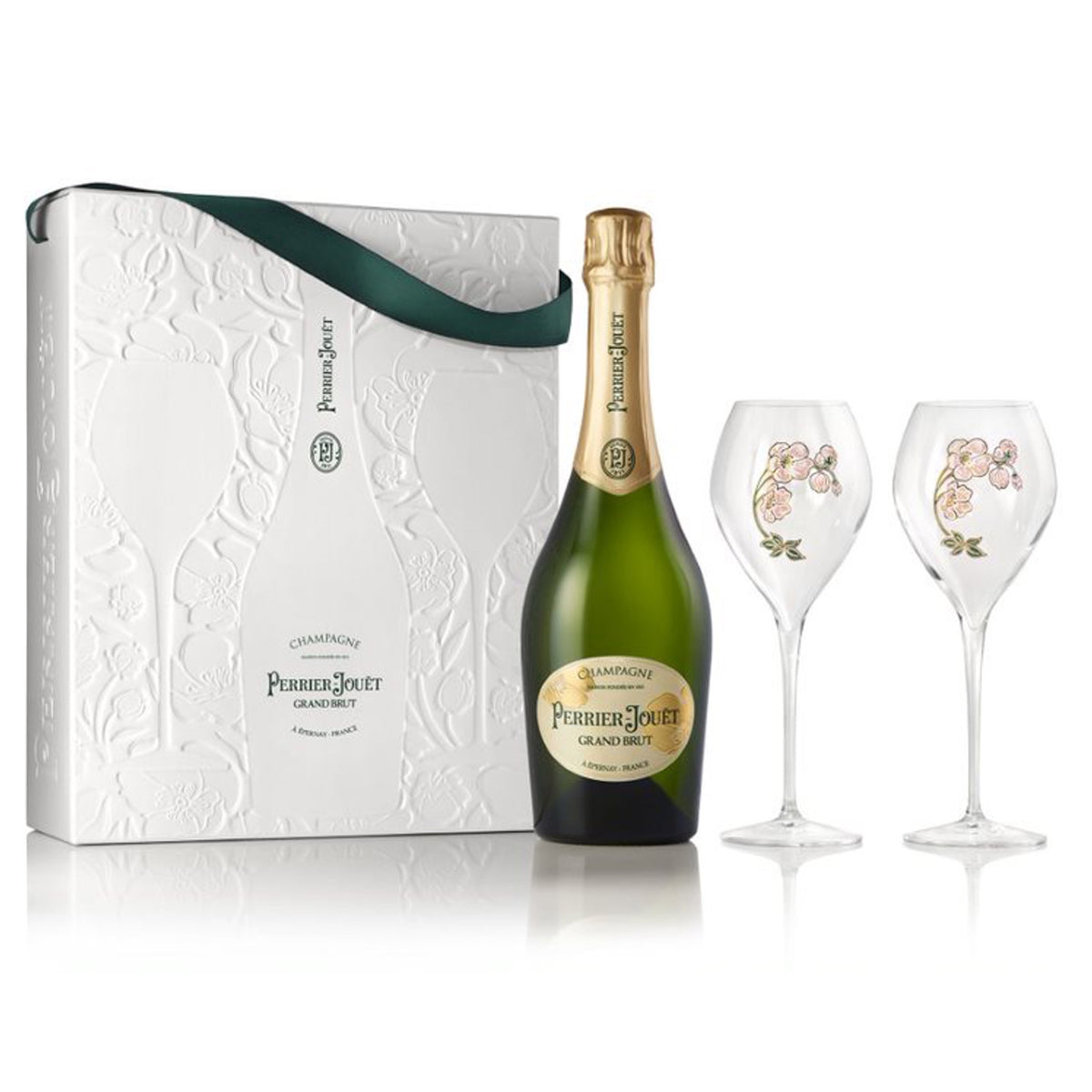 "PERRIER JOUET Champagne ""Grand Brut"" NV with 2 glasses in Ecobox Gift Set"