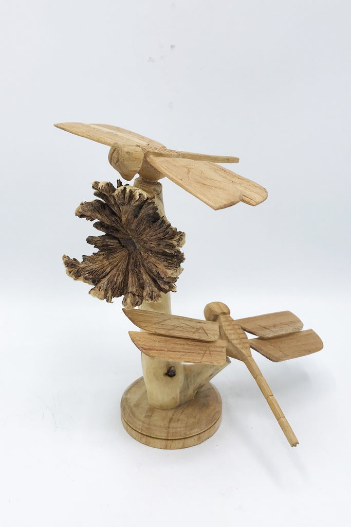 Dragonfly on burl (Double) - Zero Point Crystals