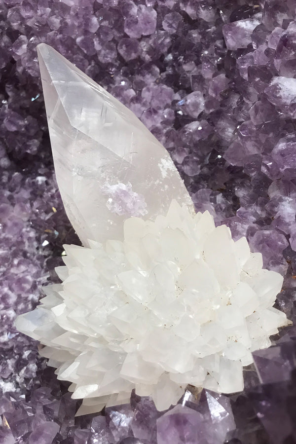Amethyst with Calcite Geode - Zero Point Crystals