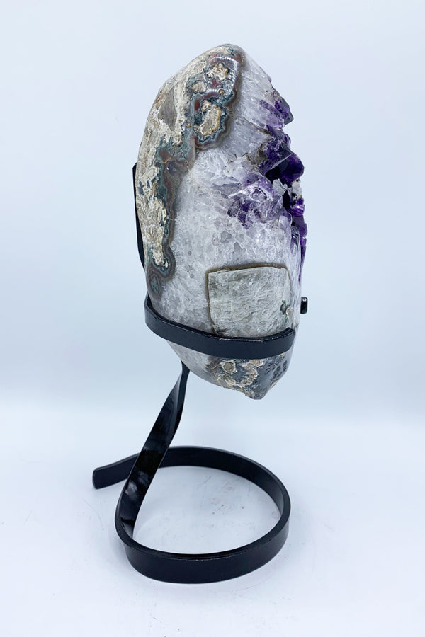 Amethyst Geode on Stand (#13346) - Zero Point Crystals