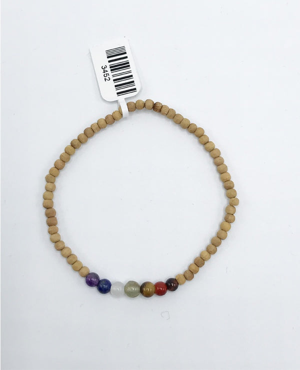 Sandalwood Chakra Bead (Stretch) Bracelet - Zero Point Crystals