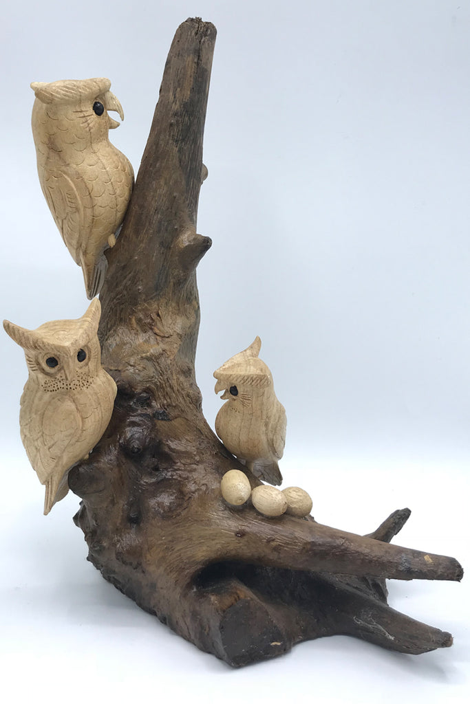 Owls on Teak wood - Zero Point Crystals