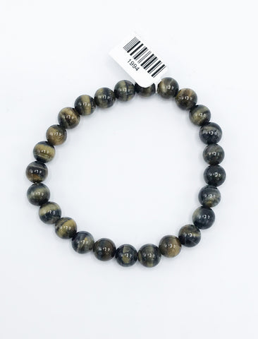 Black Tiger Eye Bead (Stretch) Bracelet - Zero Point Crystals