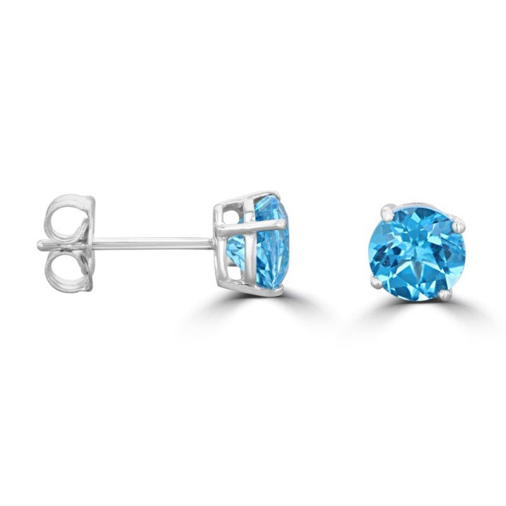 Blue Topaz Stud Earrings - Zero Point Crystals