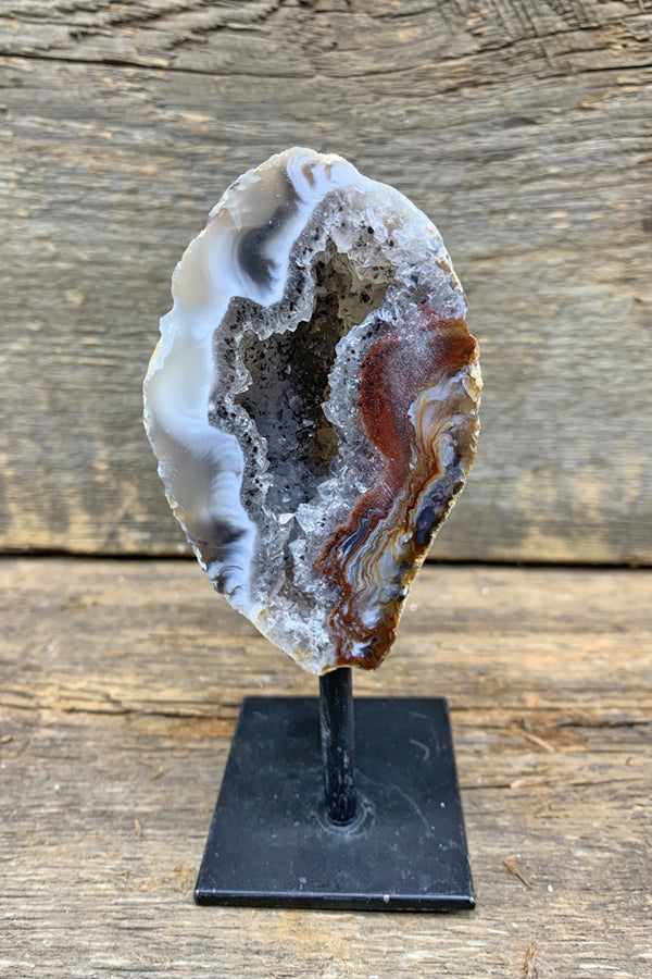 Agate Geode on Pin Stand - Zero Point Crystals