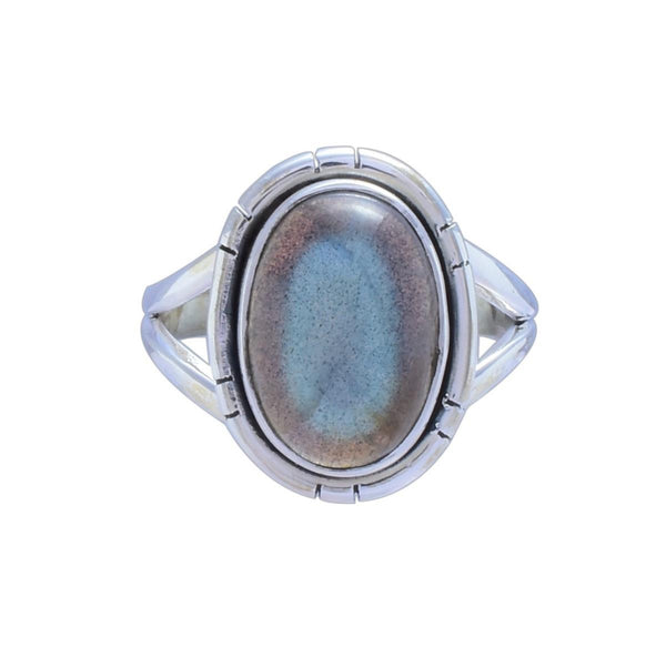 Sterling Silver Oval Labradorite Ring - Zero Point Crystals