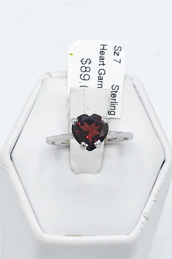 Faceted Heart Garnet (Idaho) Ring - Zero Point Crystals
