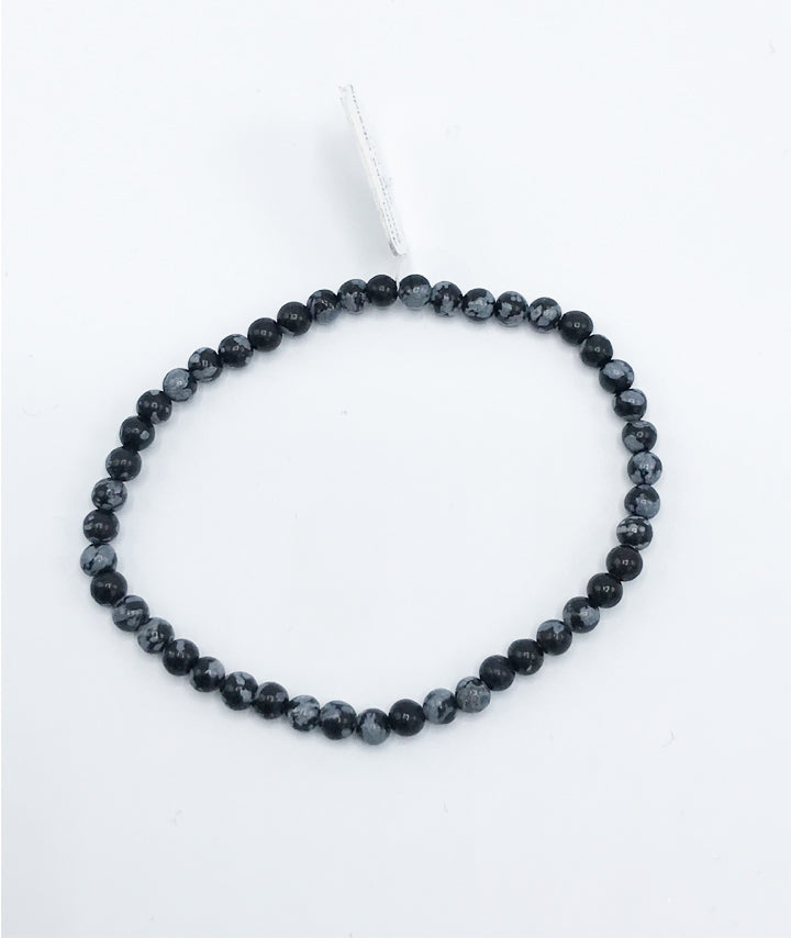 Snowflake Obsidian Stretch Bracelet - Zero Point Crystals