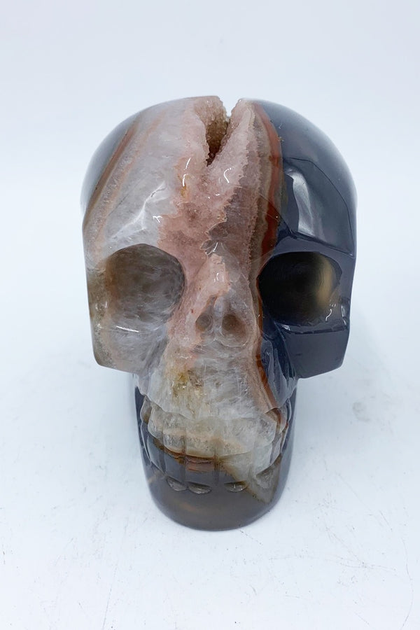 Agate Geode Crystal Skull - Zero Point Crystals