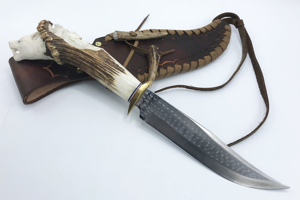 3D Carved Antler Handle Knife with Leather Sheath - Zero Point Crystals