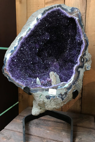 Amethyst Geode with Calcite formation - Zero Point Crystals